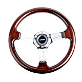 NRG Innovations ST-015-1CH Classic Wood Grain Wheel (330mm, 3 spoke center in chrome)