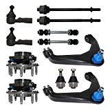 Detroit Axle - New Complete 12pc Suspension Kit - Front: Both (2) Wheel Hub & Bearings, Both (2) Upper Control Arm & Ball Joints, 2 Lower Ball Joint, All (4) Tie Rods [8-Lug Wheel Only]