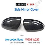 JCSPORTLINE Replacement Carbon Fiber Side Door Mirror Covers for Mercedes Benz C-Class W205 S-Class W222 LHD 2014-2015 (Left Hand Drive)
