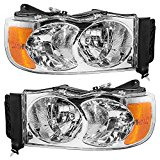 Driver and Passenger Headlights Headlamps Replacement for Dodge Pickup Truck 55077121AF 55077120AG