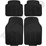 ECCPP 4pc Full Set Ridged Heavy Duty Rubber Floor Mats, Universal Fit Mat for Car, SUV, Van & Trucks - Front & Rear, Driver & Passenger Seat (Black)