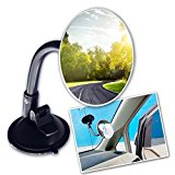 Zone Tech Adjustable Round Blind Spot Mirror – Long Arm HD Glass Convex Wide Angle Rear View Universal Fit Lens