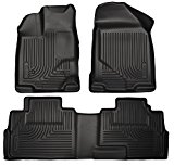 2012-2016 Dodge Ram 1500-Weathertech Floor Liners-Full Set (Includes 1st and 2nd Row)-Crew Cab; Vehicles with Hooks On Driver and Passenger Side-Black
