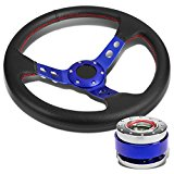 350mm Blue 3″ Deep Dish 3-Spoke PVC Leather with Red Stitching Steering Wheel+Blue Ball Bearing Quick Release