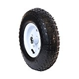 ALEKO WAP13 Ribbed Pneumatic Replacement Bolted Rim Wheel for Wheelbarrow 13 Inch Air FIlled Turf Tire for Hand Trucks and Lawn Carts, Black Tire White Rim