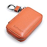 Buffway Car key case,Genuine Leather Car Smart Key Chain Coin Holder Metal Hook and Keyring Wallet Zipper Bag for Auto Remote Key Fob – Brown Reviews