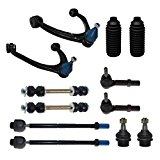 Detroit Axle – 12-Piece Front Suspension Kit – 10-Year Warranty- 2 Upper Control Arm & Ball Joints, 2 Lower Ball Joints Fit Steel Control Arms Only, All Inner & Outer 4 Tie Rod, 2 Front Sway Bars