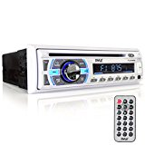 Pyle Marine Bluetooth Stereo Receiver [Digital AM/FM Radio System] Wireless Music Streaming | Hands-Free Call Answering | CD Player | MP3/USB/SD/AUX | Single DIN (PLCD43MRB)
