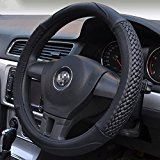 Moyishi Top Leather Steering Wheel Cover Universal Fit Soft Breathable Steering Wheel Wrap (Black) Reviews