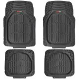 MotorTrend FlexTough Tortoise - Heavy Duty Rubber Floor Mats for All Weather Protection - Deep Dish (Black)