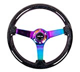 NRG ST-036BSB-BK 350MM 6-HOLE BOLTS 3″ DEEP CLASSIC WOOD RACING STEERING WHEEL (Neochrome Center) Reviews
