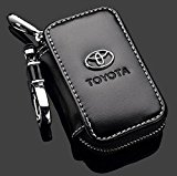 Toyota Black Premium Leather Car Key Chain Coin Holder Zipper Case Remote Wallet Bag