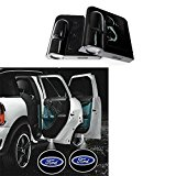 Soondar® 2 x Wireless No Drill Type Led Laser Door Shadow Light Welcome Projector Light Led Car Door Logo Ford Ghost Shadow Emblems (Ford) – No Drilling Required