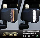 Xprite White LED Light Smoke Lens Sidelight Rearview Side Mirror Housing W/ Yellow Turn Signal Lights For Jeep Wrangler JK JKU 2007 – 2017