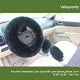 Valleycomfy Fashion Steering Wheel Cover for Women/Girls/Ladies Australia Pure Wool 15 Inch 1 Set 3 Pcs, Black