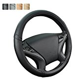New Arrival- Car Pass Classical Leather Automotive Universal Steering Wheel Covers (Black)