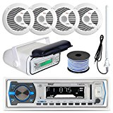 Pyle PLMRB29W MP3 USB SD Bluetooth In-Dash Radio Receiver Bundle Combo With White Marine Stereo Housing + 4x 6 1/2″ Dual Cone Waterproof Audio Speakers = Enrock Flex AM/FM Antenna + 50Ft Speaker Wire