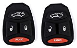 Jeep Chrysler Dodge Replacement Rubber Buttons Pad of Key Fob Case Shell Cover Keyless Entry Remote Key Pad for Dodge Dakota Magnum Charger Durango RAM Chrysler 300 Aspen Jeep Grand Cherokee Commander