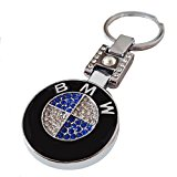 BMW Quality Blue Swarovski Crystals Automotive Key Chain Logo Ring Key Holder