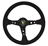 Universal 350mm Deep Dish Suede Wrapped Red Stiching Steering Wheel Black with Wakaba Horn Button Reviews