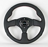 NRG Steering Wheel – 12 (Race) – 320mm (12.60 inches) – Black Leather / Black Spokes with Red Stitching – Part # ST-012R Reviews