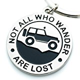 """Key Chain for Jeep Enthusiasts """"Not All Who Wander Are Lost"""" Great Advice and Gift Idea For Any Jeep Owner! Built by Wrench & Bones for Jeep Wrangler Accessories Enthusiasts"""