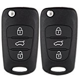 ECCPP 2 Flip Folding Entry Remote Fob Key Shell 3 Buttons for KIA K2/K5 Keyless